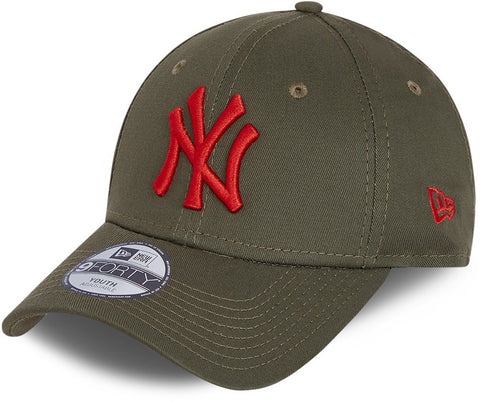 NY Yankees Kids New Era 940 League Essential Olive Baseball Cap (Ages 6 - 12)