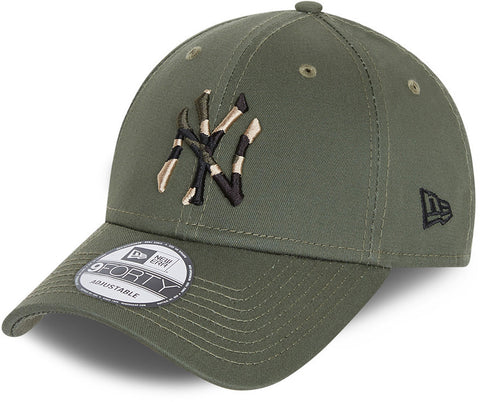NY Yankees Kids New Era 940 Camo Infill Olive Baseball Cap (Ages 6 - 12)