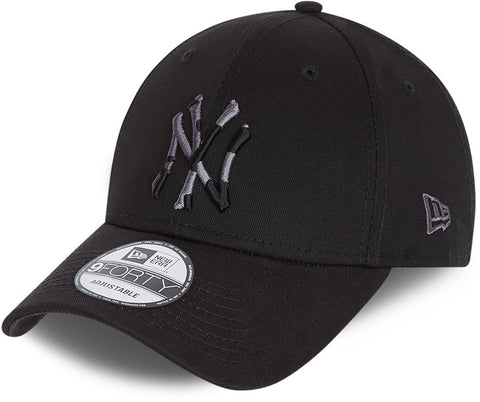NY Yankees Kids New Era 940 Camo Infill Black Baseball Cap (Ages 6 - 12)