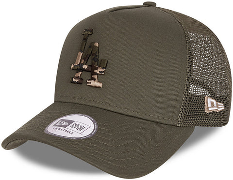 Los Angeles Dodgers New Era Camo Infill Khaki Trucker Cap