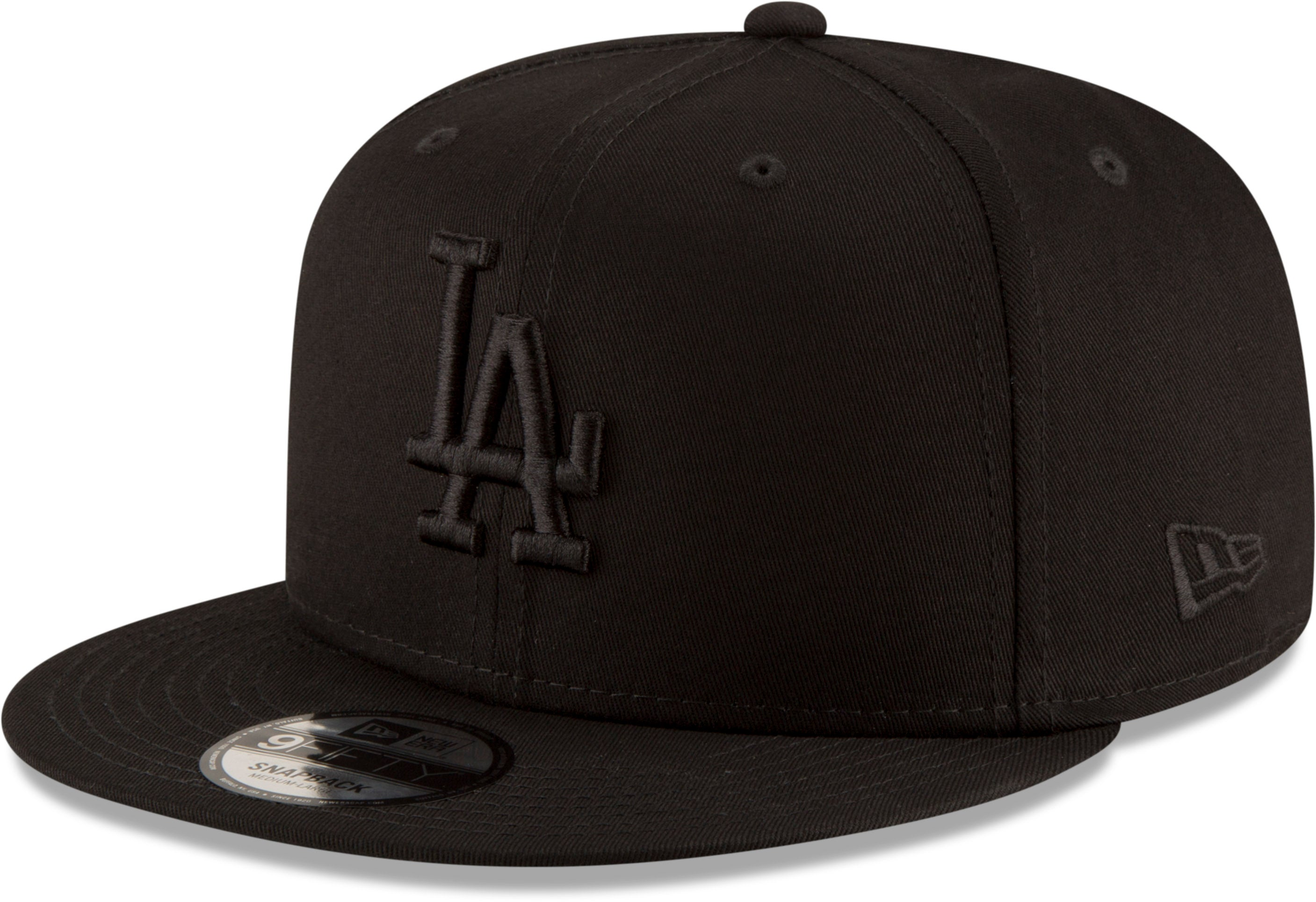 LA Dodgers New Era 950 League Essential All Black Snapback Baseball Cap -  pumpheadgear 2b1b66717379