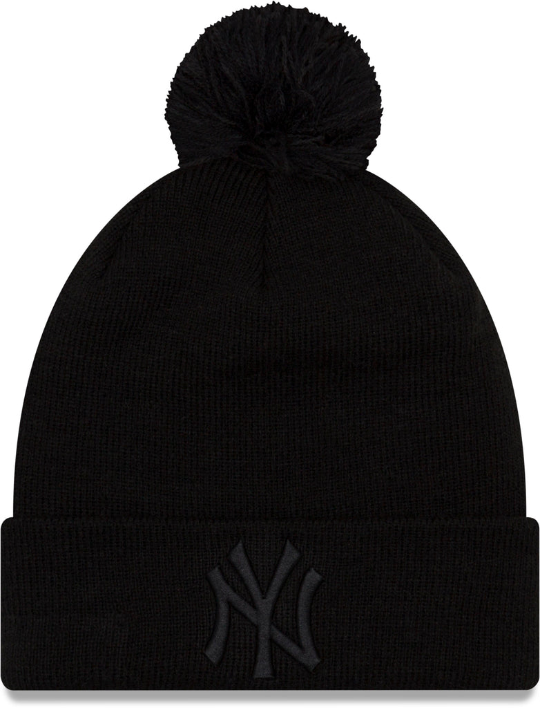 56c46e29349 NY Yankees Womens New Era Essential Knit Black Bobble Hat