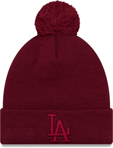 LA Dodgers Womens New Era Essential Knit Bobble Hat - pumpheadgear, baseball caps
