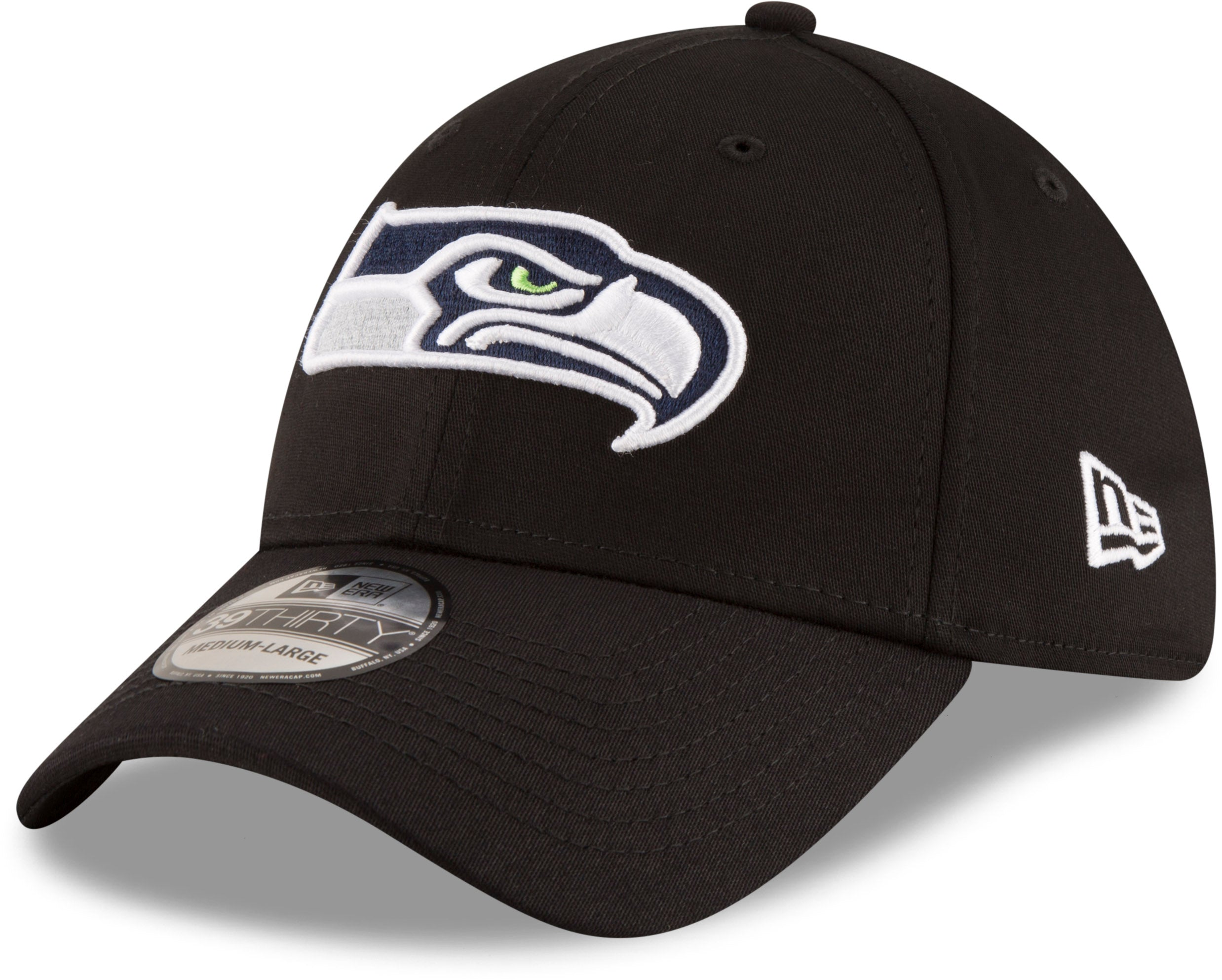 online store 1c962 6eb99 Seattle Seahawks New Era 3930 Black Base NFL Team Stretch Fit Cap –  lovemycap