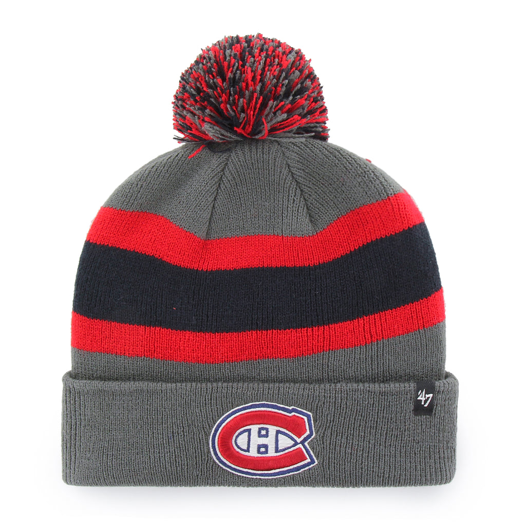 Montreal Canadiens 47 Brand Charcoal Breakaway Cuff Knit Bobble Hat