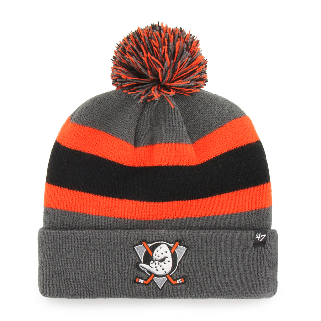 Anaheim Ducks 47 Brand Charcoal Breakaway Cuff Knit Bobble Hat