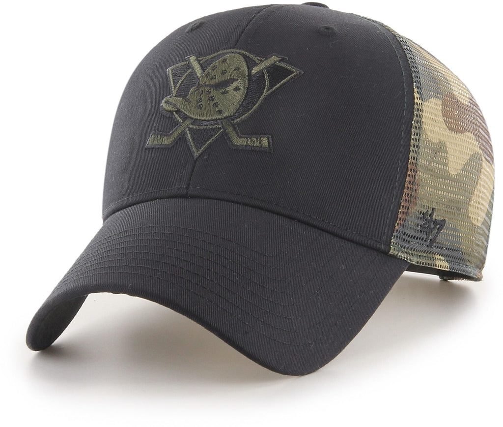 Anaheim Ducks 47 Brand Black/Camo Back Switch Trucker Cap