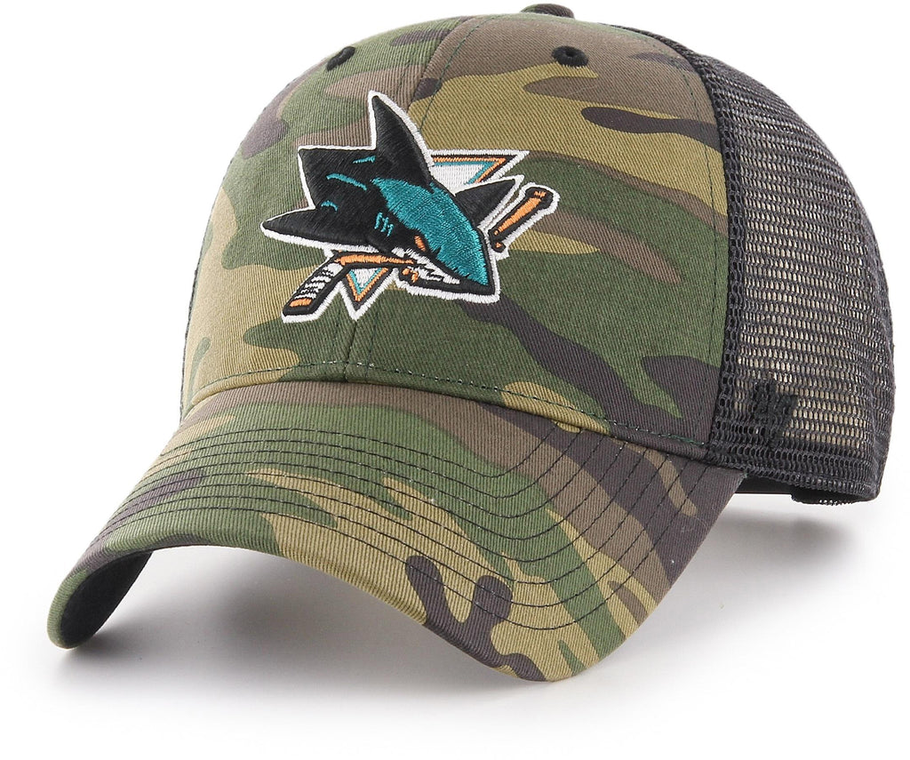 San Jose Sharks 47 Brand MVP Camo Branson NHL Trucker Cap - pumpheadgear, baseball caps