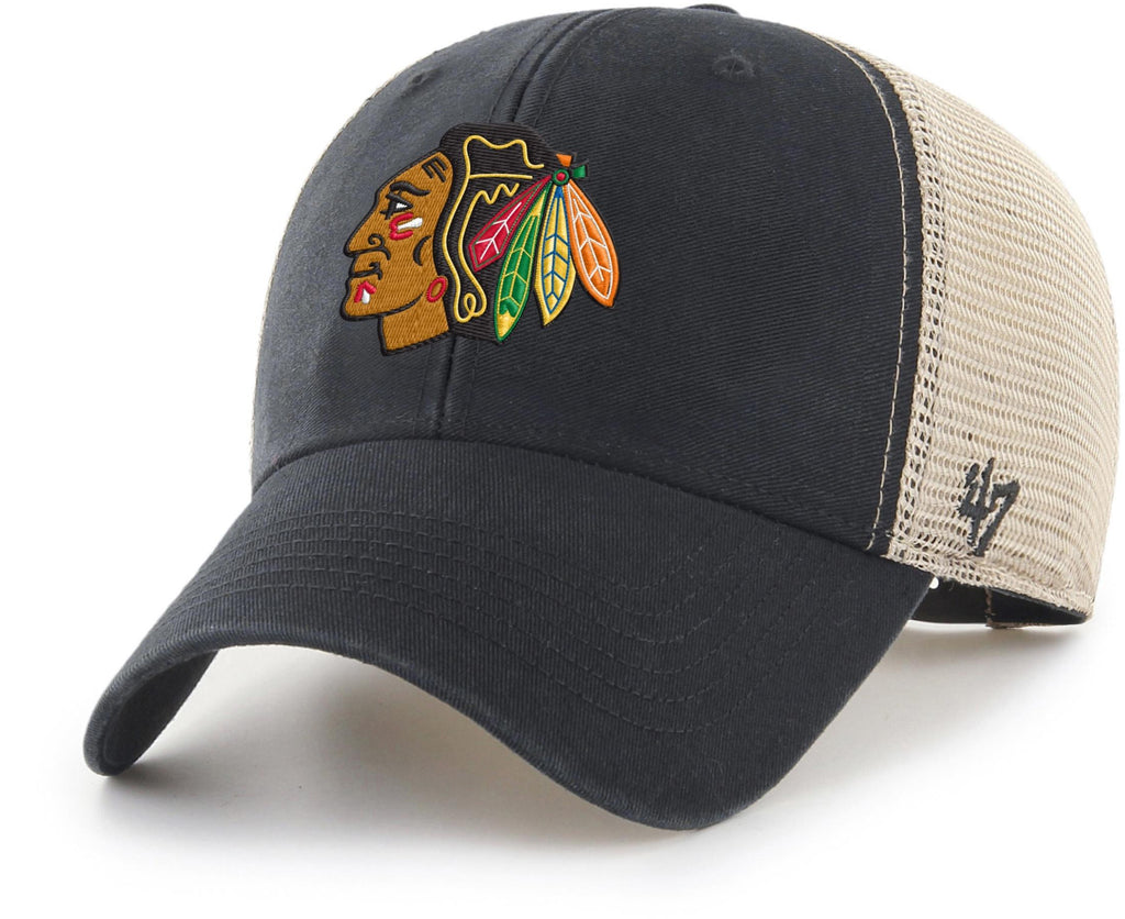 Chicago Blackhawks 47 Brand Black Flagship Wash MVP Mesh Cap