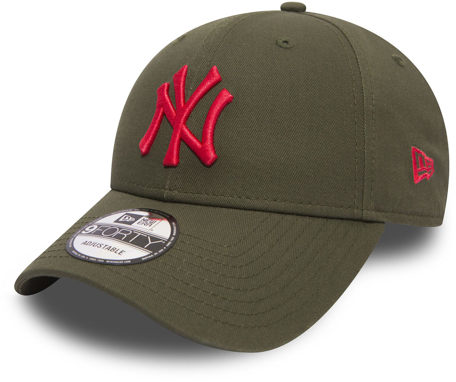 5eb72106c7d0ae NY Yankees New Era 940 League Essential Olive/Red Baseball Cap – lovemycap