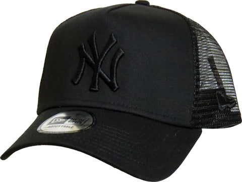NY Yankees New Era All Black Clean Trucker Cap - pumpheadgear, baseball caps