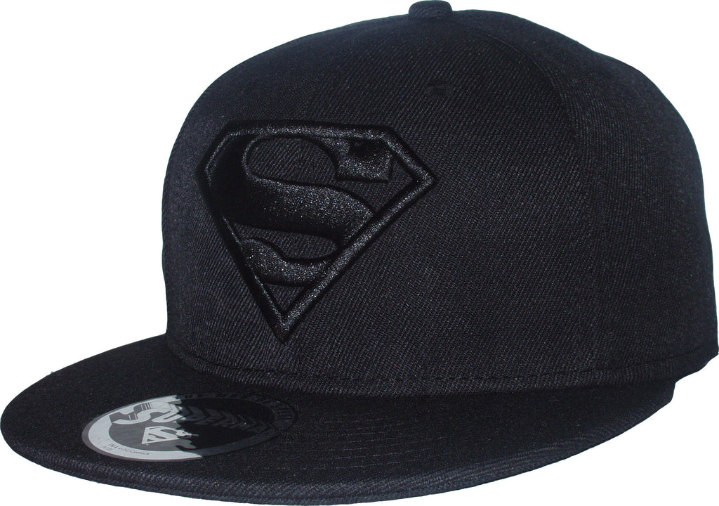 Superman DC Comics All Black Classic Logo Snapback Cap - pumpheadgear, baseball caps