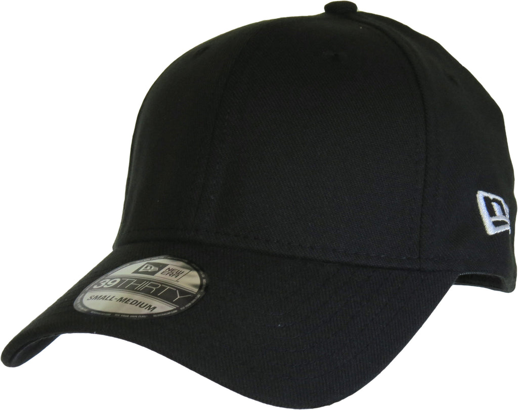 New Era 3930 Classic Curved Peak Stretch Fit Plain Black Baseball Cap - pumpheadgear, baseball caps