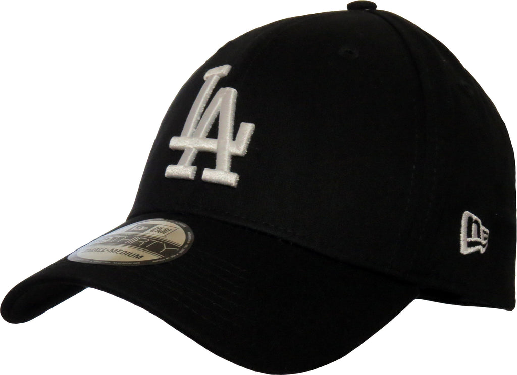 LA Dodgers New Era 3930 League Essential Black Stretch Fit Baseball Cap - pumpheadgear, baseball caps