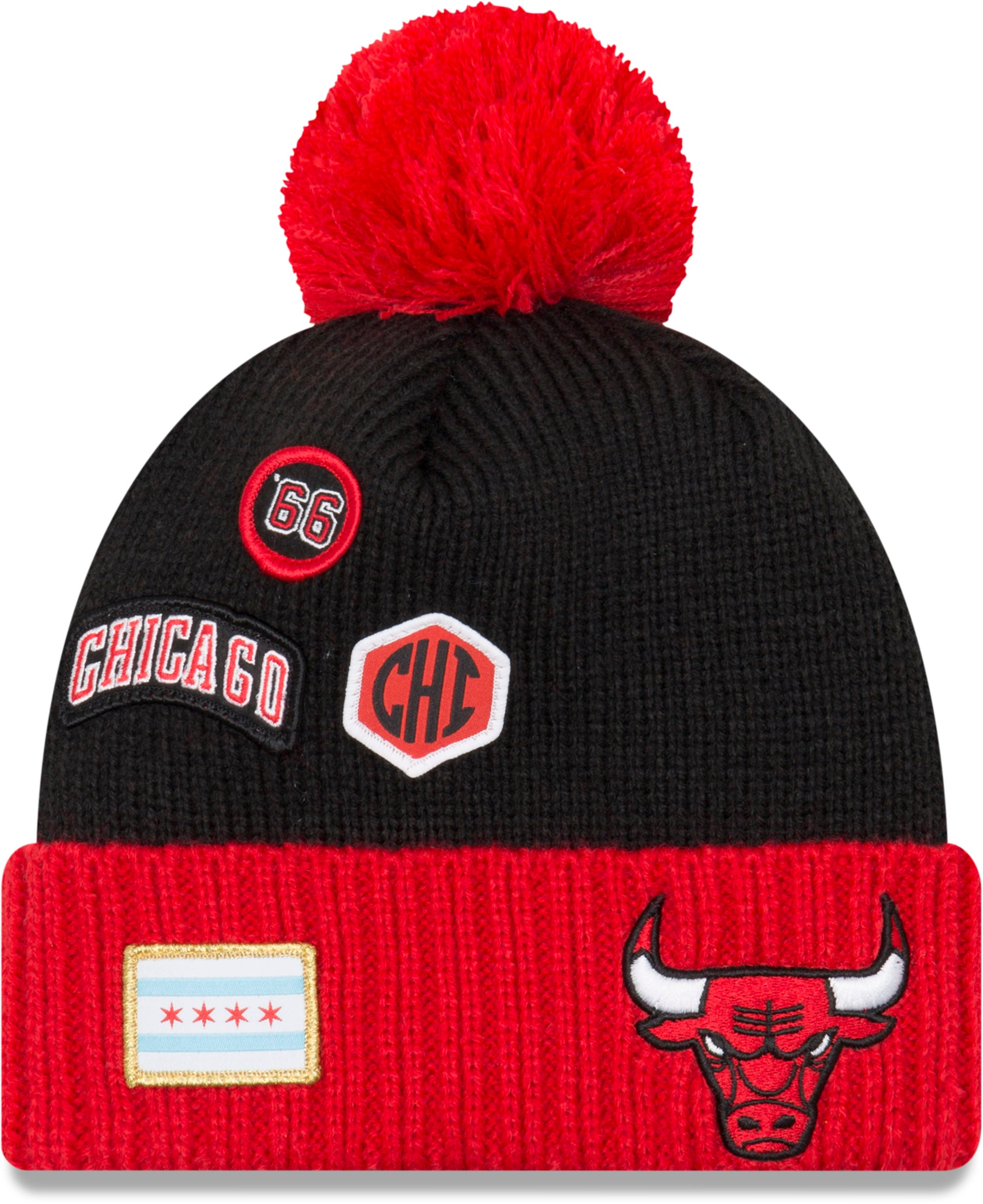 7860aef7e5e Chicago Bulls New Era NBA 2018 Draft Knit Bobble Hat - pumpheadgear