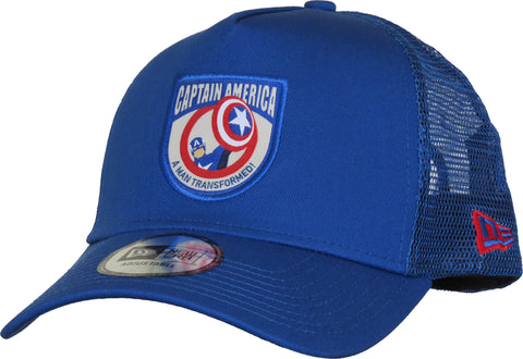 Captain America Marvel Avengers New Era Blue Trucker Cap - pumpheadgear, baseball caps