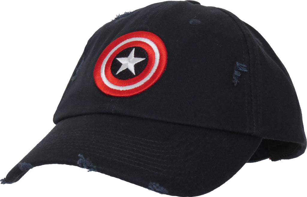 Marvel Comics Captain America Destroyed Navy Blue Cap - pumpheadgear, baseball caps