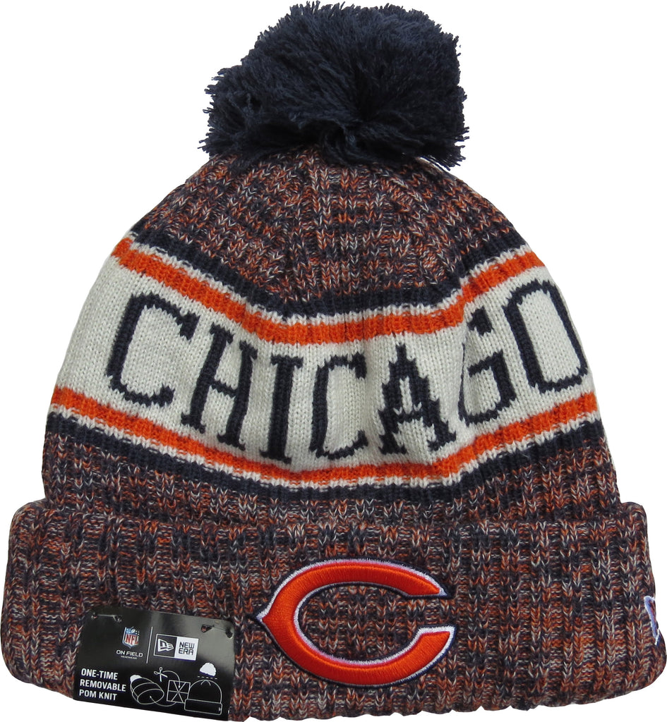 9d0fd34c6 ... promo code for chicago bears new era nfl on field 2018 sport knit  bobble hat 7138c