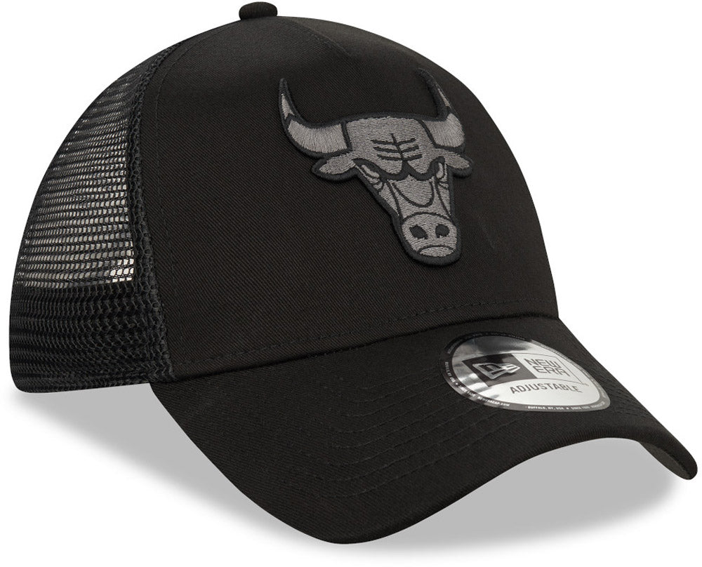 New Era Chicago Bulls New Era A Frame Adjustable Trucker Cap NBA Black Base