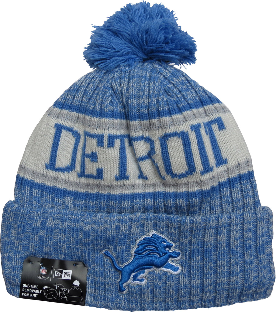 Detroit Lions New Era NFL On Field 2018 Sport Knit Bobble Hat - pumpheadgear, baseball caps