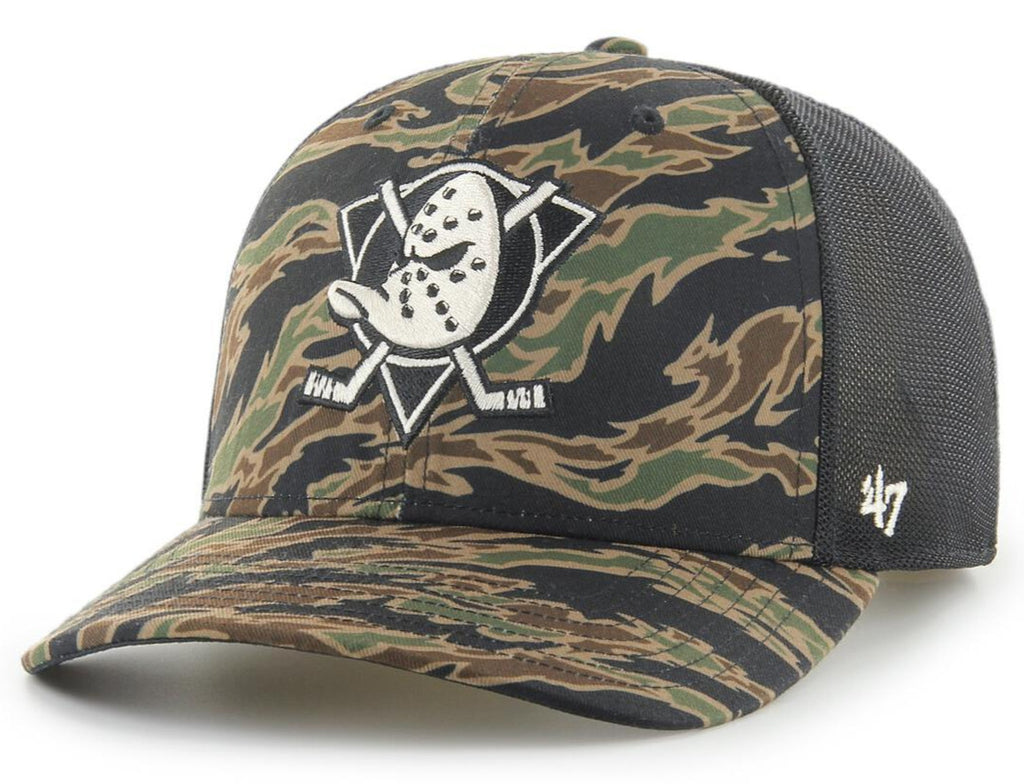 Anaheim Ducks 47 Brand MVP Drop Zone Tiger Camo Mesh Trucker Cap