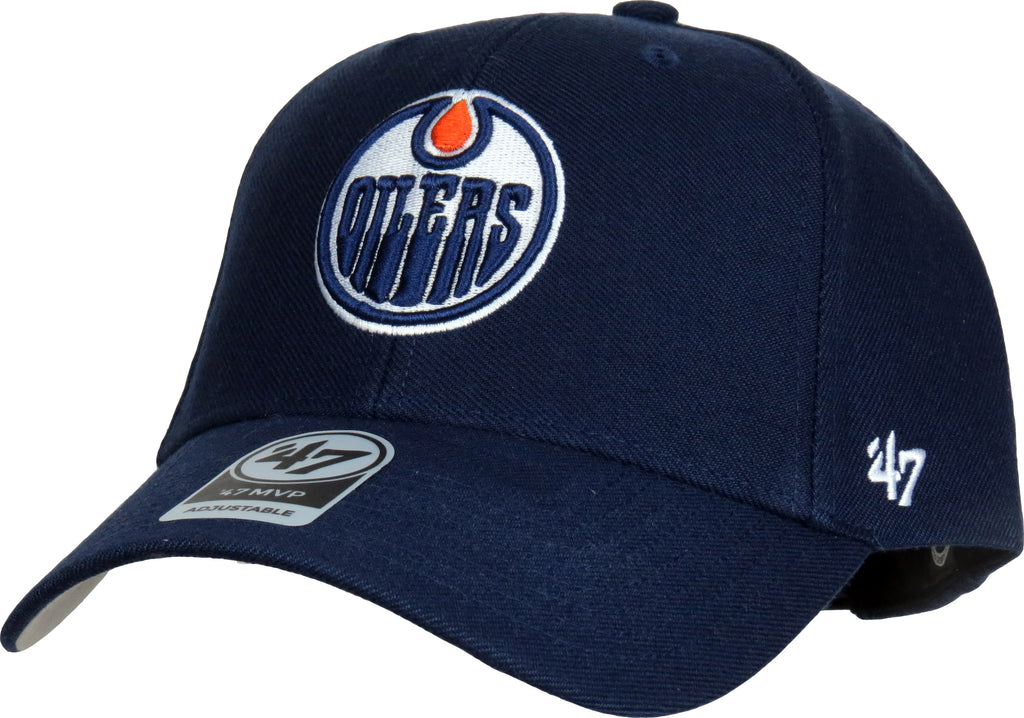 Edmonton Oilers 47 Brand MVP Adjustable Navy Blue NHL Cap - pumpheadgear, baseball caps