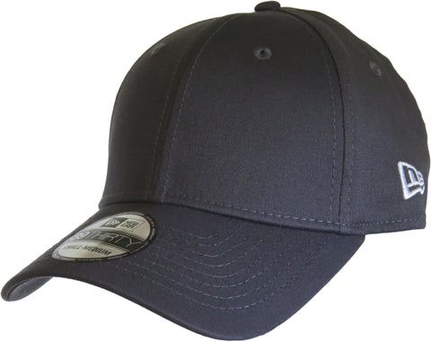 New Era 3930 Classic Curved Peak Stretch Fit Plain Graphite Baseball Cap - pumpheadgear, baseball caps