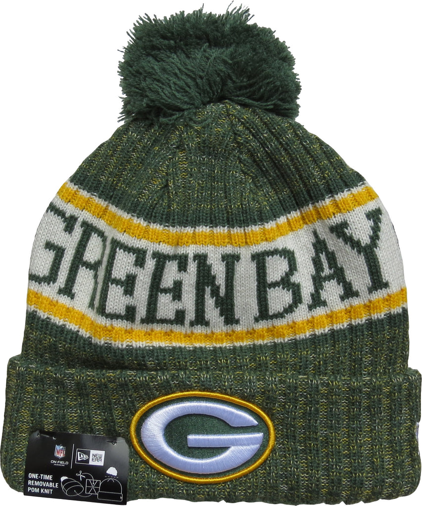 bec4a89bf1b ... top quality green bay packers new era nfl on field 2018 sport knit  bobble hat 35cfc