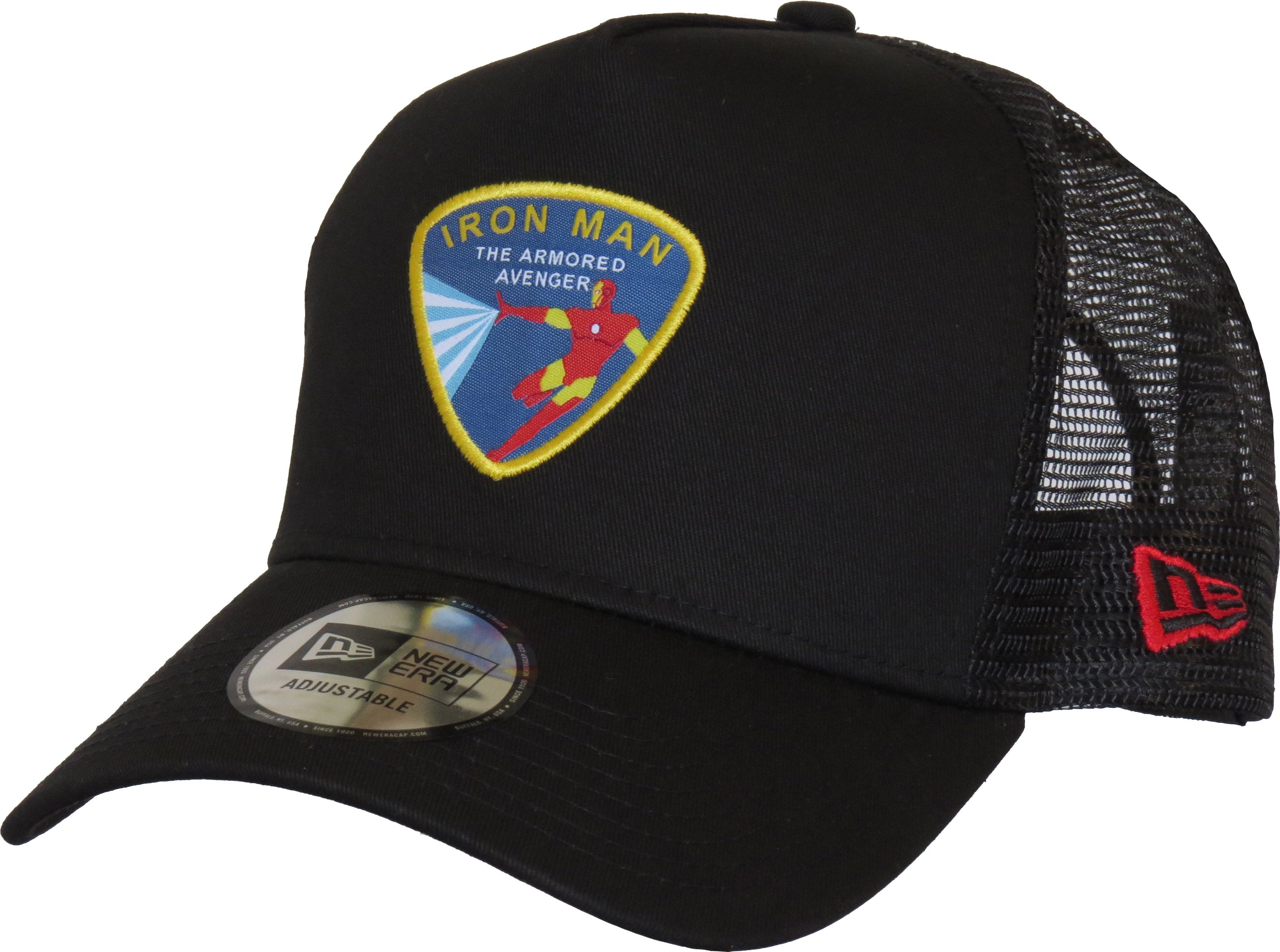 clearance sale reasonably priced look out for Iron Man Marvel Avengers New Era Black Trucker Cap – lovemycap