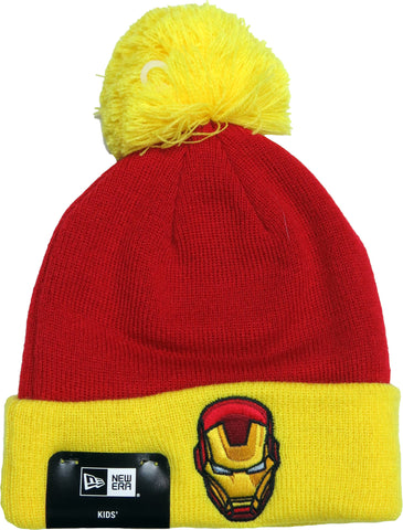 Iron Man Marvel Comics New Era Kids Cuff Knit Bobble Hat (Age 5 - 10 years) - pumpheadgear, baseball caps