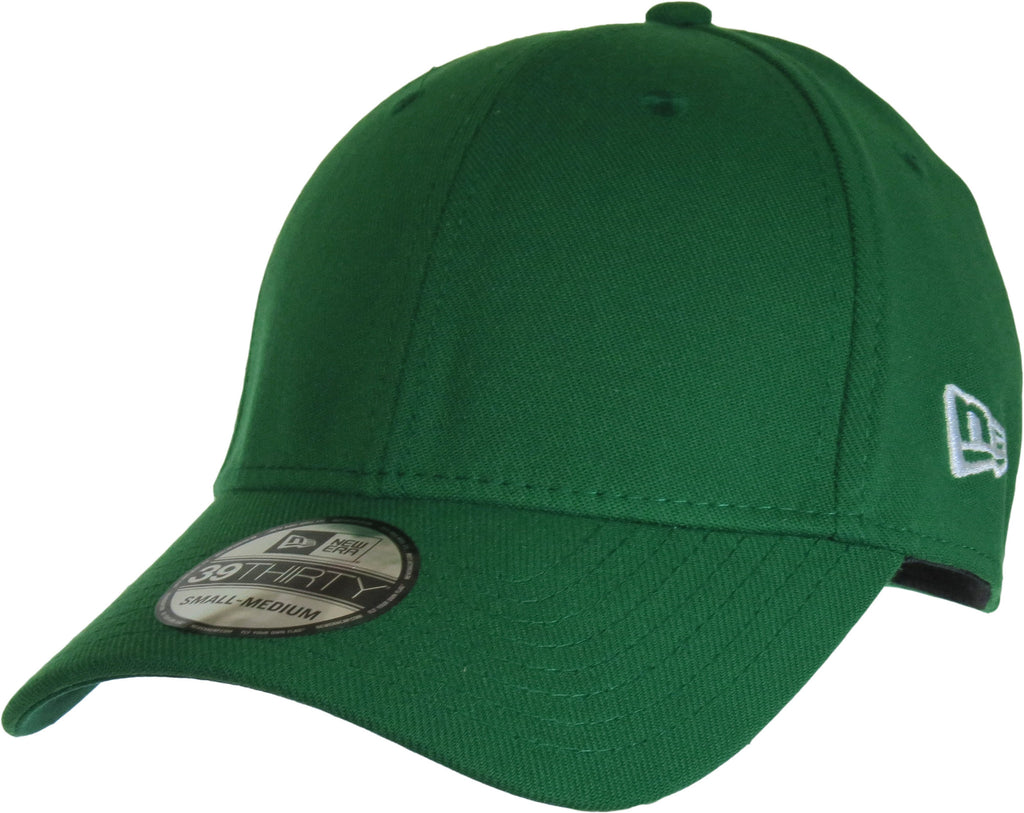 New Era 3930 Classic Curved Peak Stretch Fit Plain Kelly Green Baseball Cap - pumpheadgear, baseball caps
