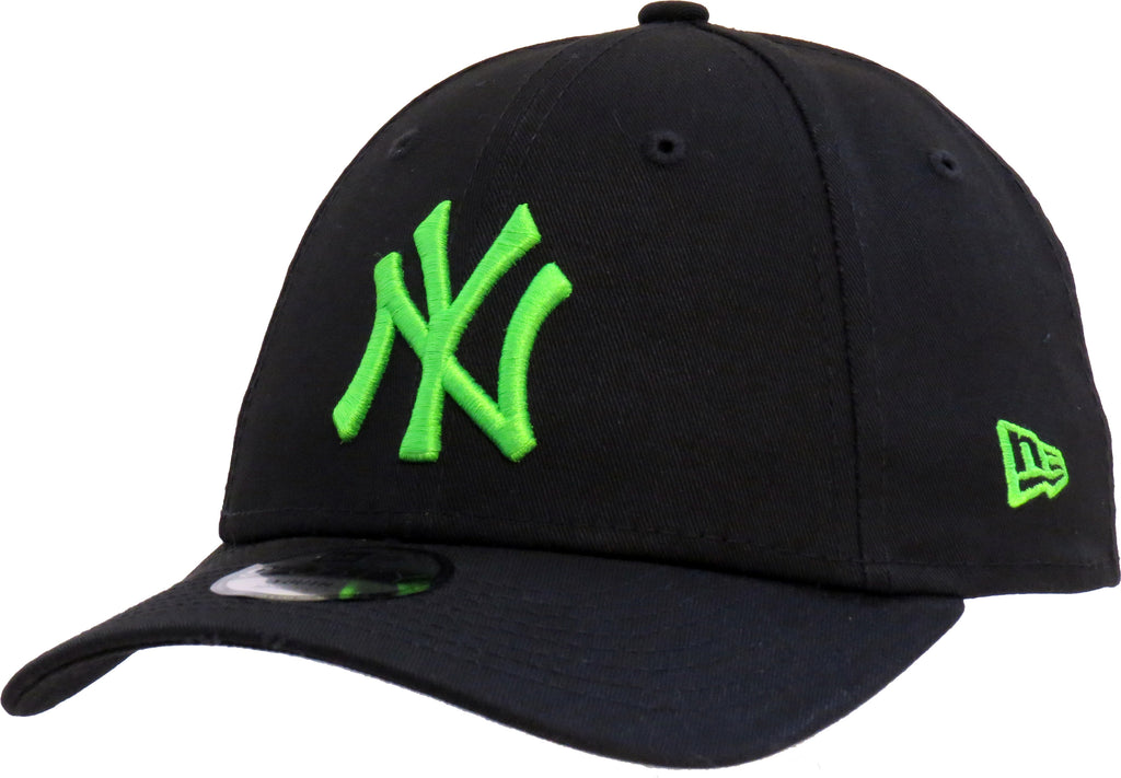 NY Yankees Kids New Era 940 Neon Black/Green Baseball Cap (Ages 2 - 10 years) - pumpheadgear, baseball caps