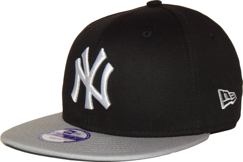 New Era 950 Kids Cotton Block NY Black/Grey Snapback Cap (Ages 5 - 10 years) - pumpheadgear, baseball caps