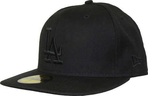 LA Dodgers New Era 5950 MLB Black On Black Baseball Cap +Gift Box - pumpheadgear, baseball caps
