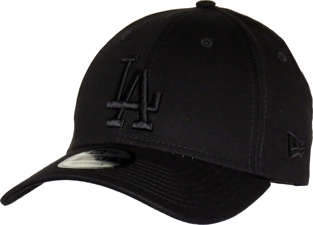 LA Dodgers New Era 940 League Essential Baseball Cap - Black/Black - pumpheadgear, baseball caps