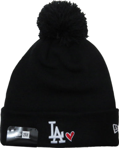 LA Dodgers New Era Heart Knit Black Bobble Hat - pumpheadgear, baseball caps