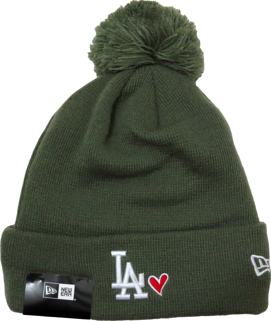 LA Dodgers New Era Heart Knit Olive Bobble Hat - pumpheadgear, baseball caps