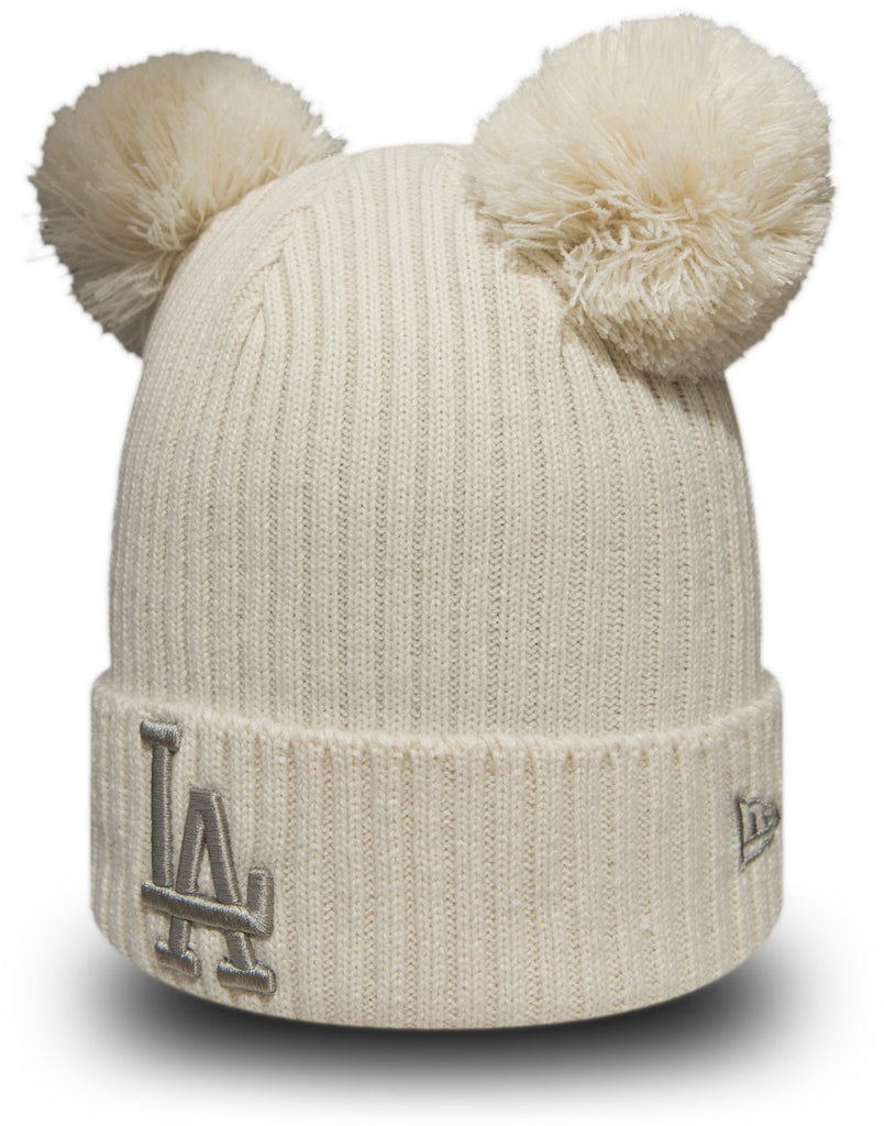 LA Dodgers Womens New Era Double Pom Cuff Knit Bobble Hat - pumpheadgear, baseball caps