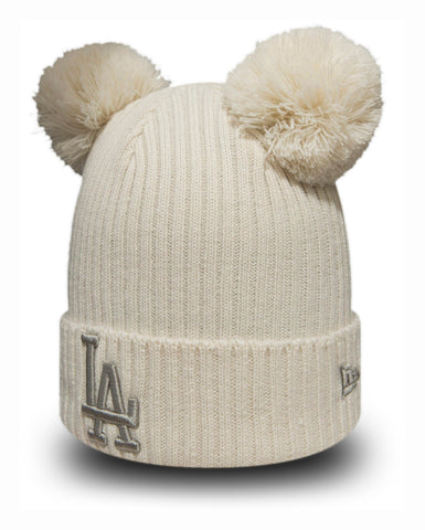 LA Dodgers New Era Girls Double Pom Bobble Hat (5 - 10 years) - pumpheadgear, baseball caps