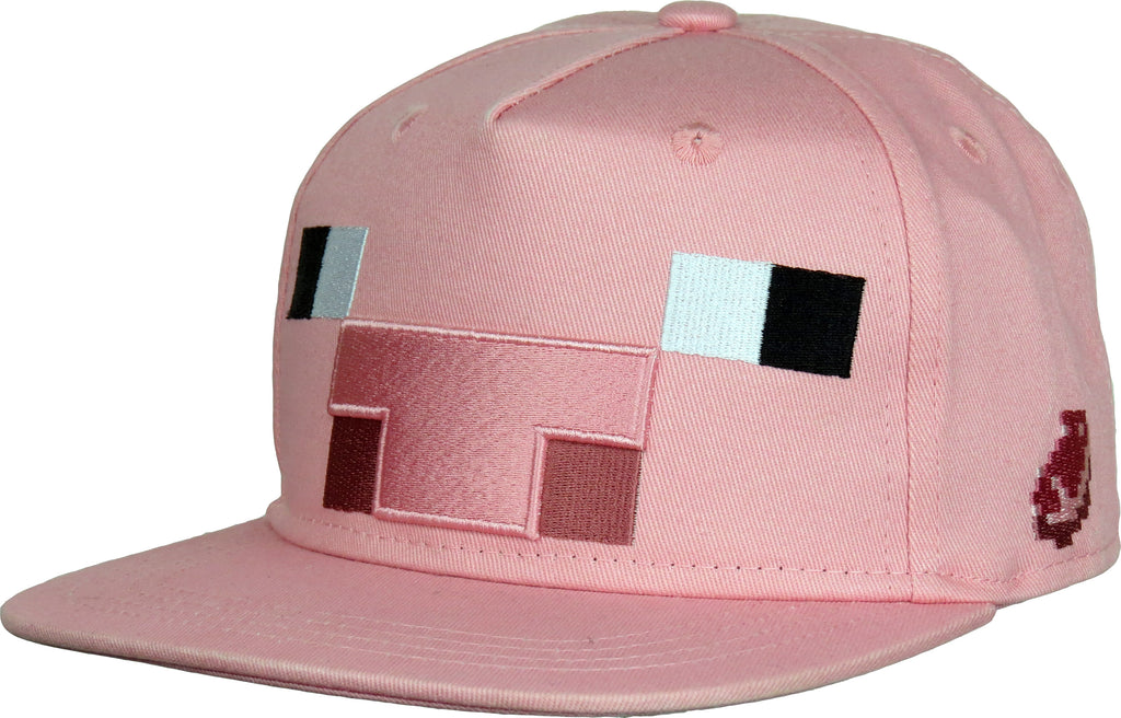Minecraft Pig Kids Pink Snapback Cap (Age 5 - 10years) - pumpheadgear, baseball caps