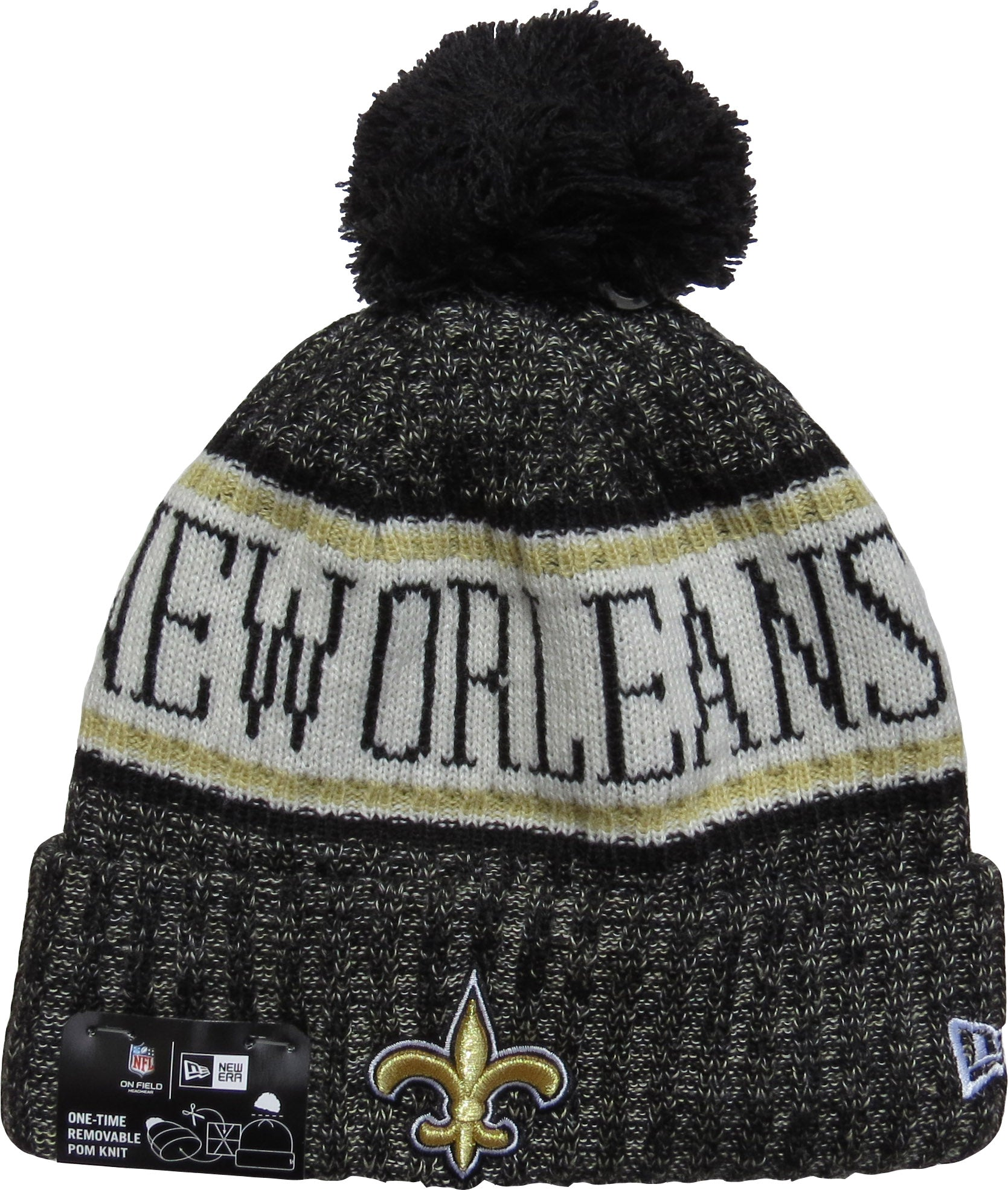 New Orleans Saints New Era NFL On Field 2018 Sport Knit Bobble Hat –  lovemycap 661efbacaa8