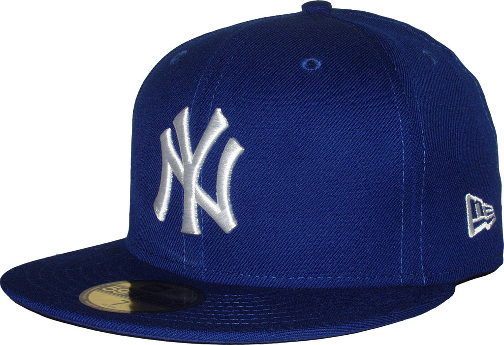 NY Yankees New Era 5950 MLB Royal Blue/White Baseball Cap - lovemycap