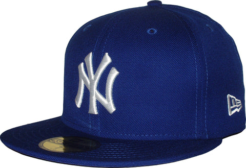 NY Yankees New Era 5950 MLB Royal Blue/White Baseball Cap - pumpheadgear, baseball caps