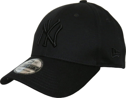 New Era 3930 League Basic NY Black On Black Stretch Fit Baseball Cap - pumpheadgear, baseball caps