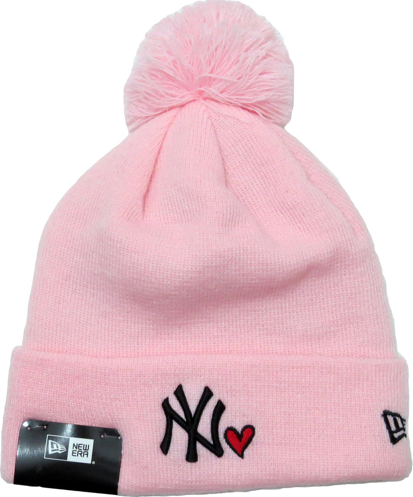 NY Yankees New Era Womens Heart Knit Pink Bobble Hat
