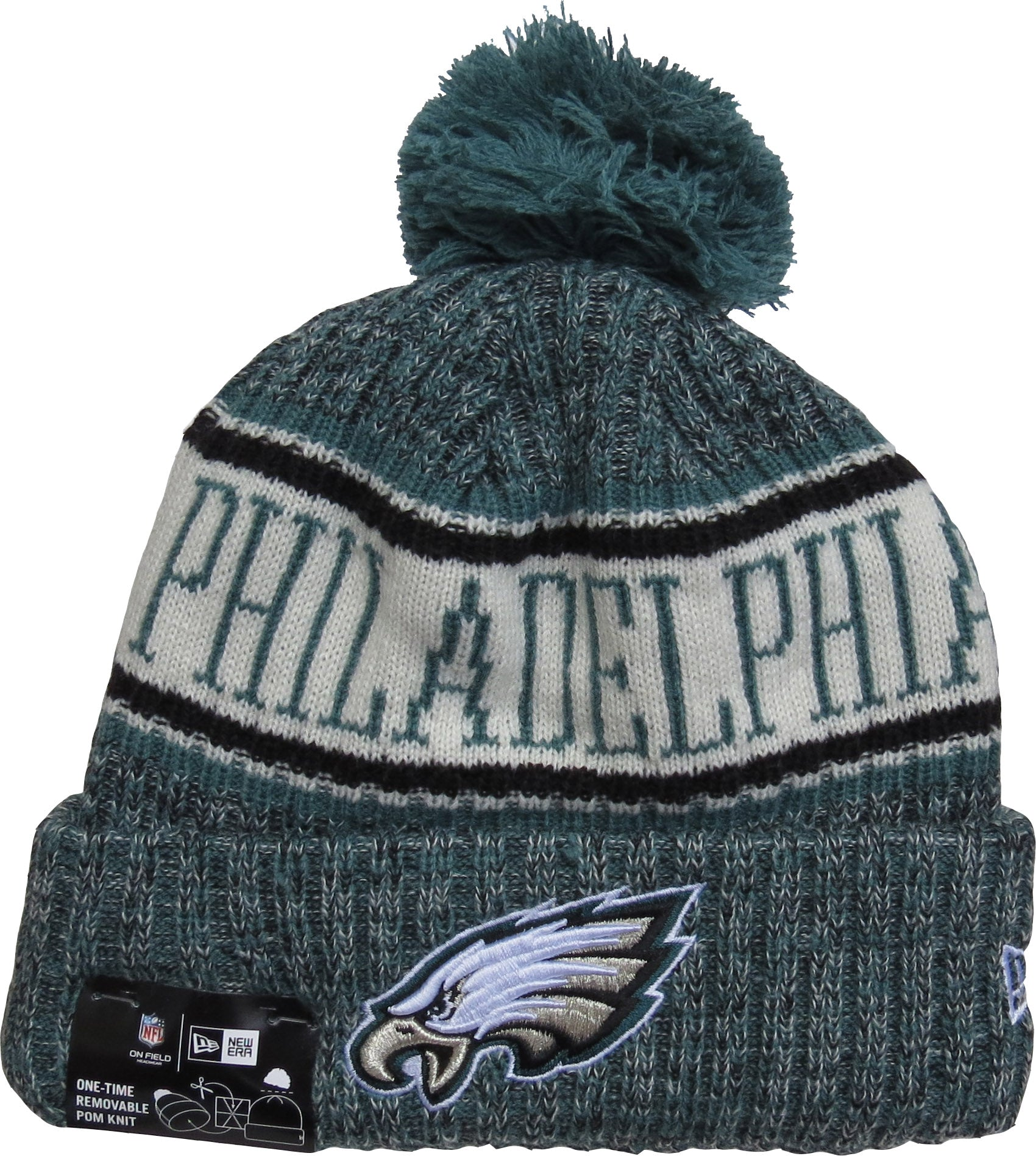 3ea417e506985 ... official store philadelphia eagles new era nfl on field 2018 sport knit  bobble hat 73333 1eda8