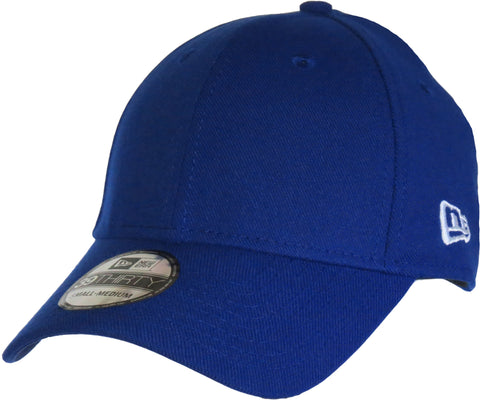 New Era 3930 Classic Curved Peak Stretch Fit Plain Royal Blue Baseball Cap - pumpheadgear, baseball caps
