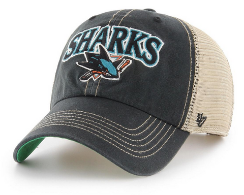 San Jose Sharks 47 Brand Vintage Black Tuscaloosa Clean Up Cap