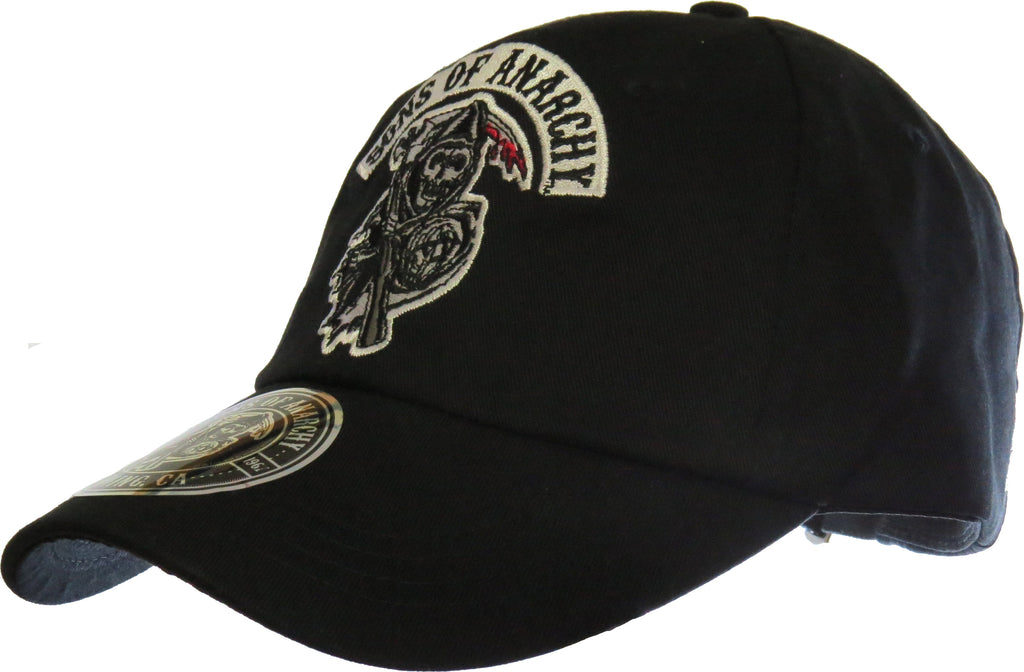 Sons Of Anarchy SAMCRO Black Adjustable Baseball Cap - pumpheadgear, baseball caps