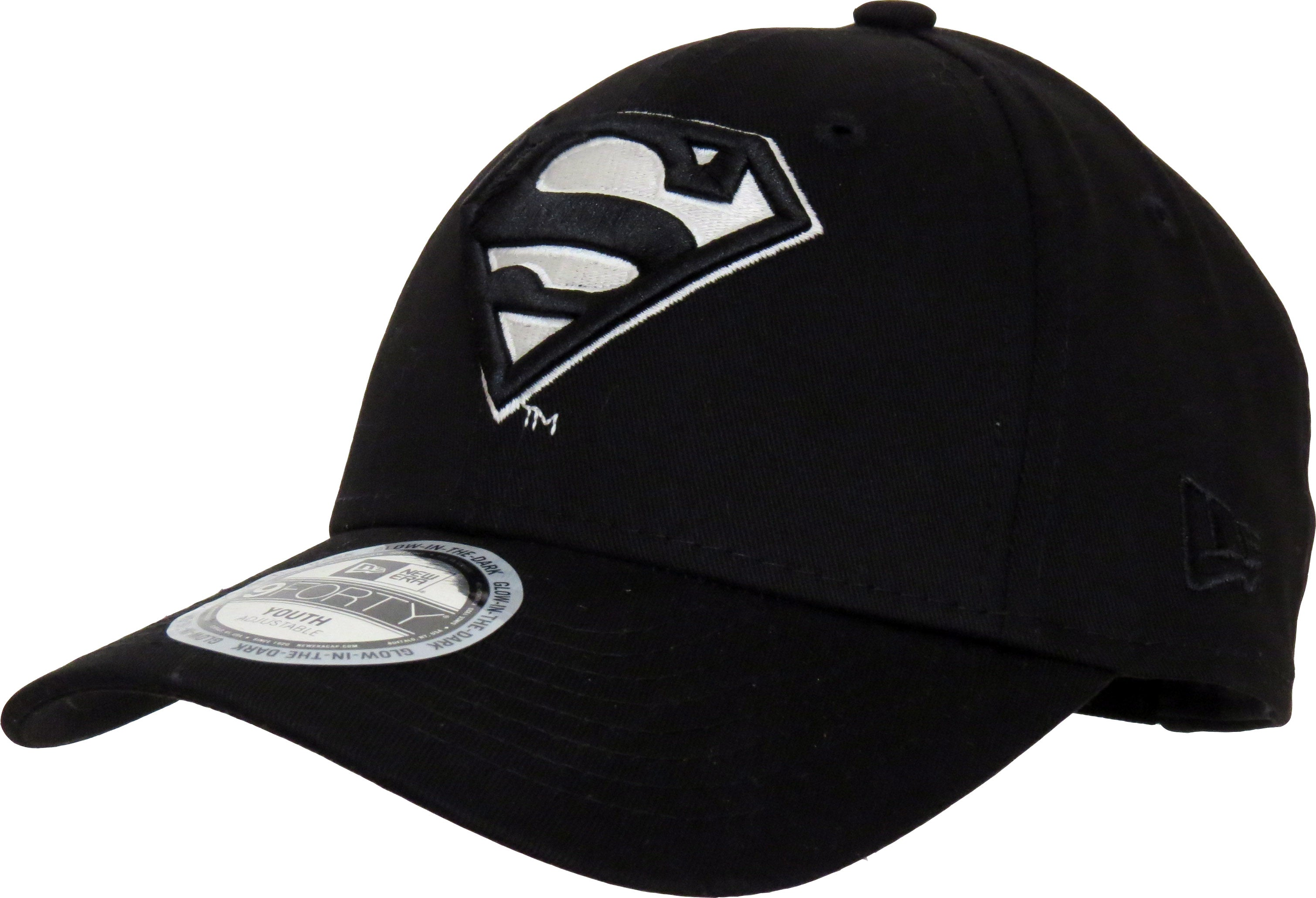 official photos 9f256 48956 ... norway superman new era kids 940 glow in the dark black cap ages 2 10  years